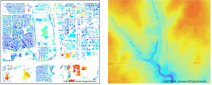 Left: DHM (Digital Height Model) Right: DTM(Digital Terrain Model)
